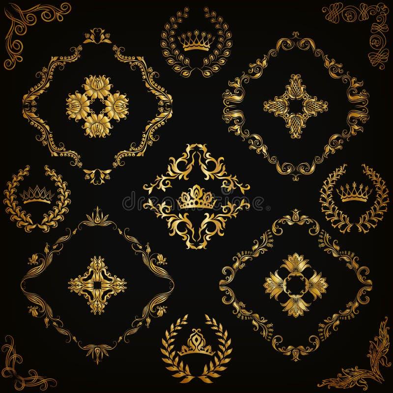 锦缎装饰品被设置的向量 库存例证