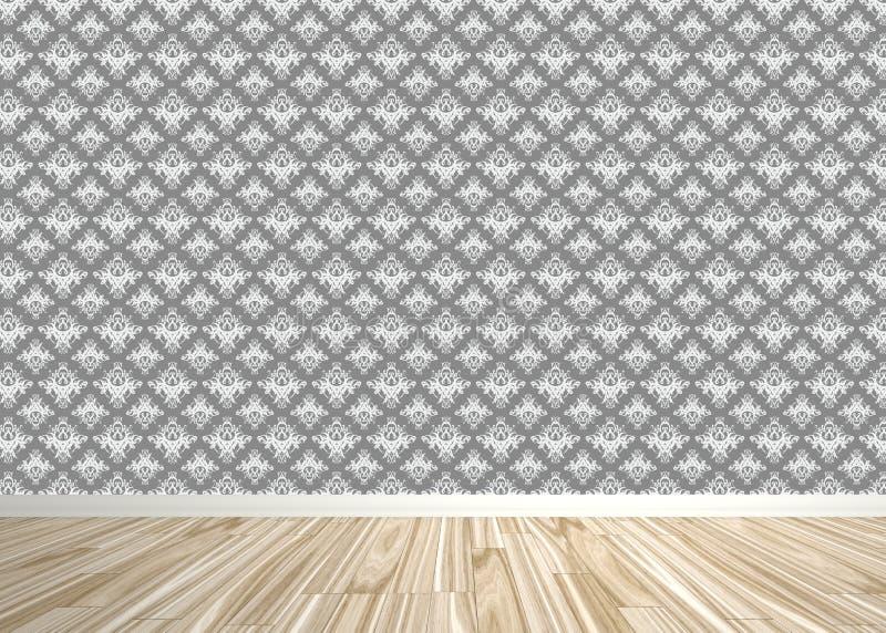 锦缎贴墙纸的空间内部 库存例证