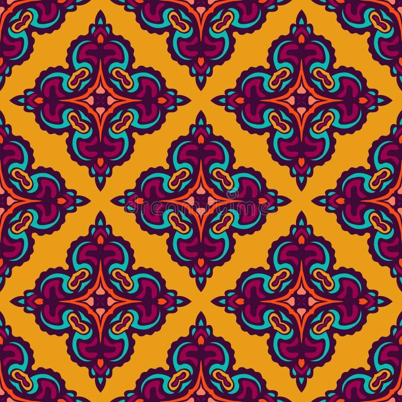 锦缎黄色抽象无缝的样式 向量例证