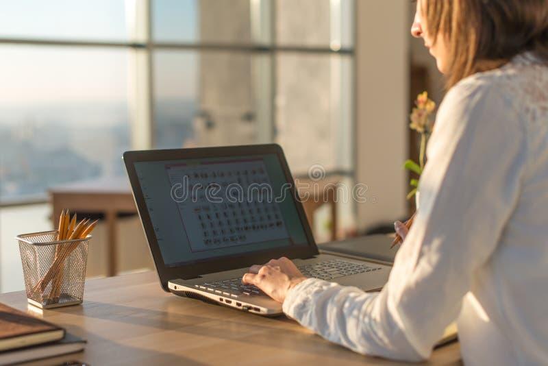 键入使用膝上型计算机键盘的女作家在她的工作场所早晨 妇女网上文字博克,侧视图关闭 库存照片