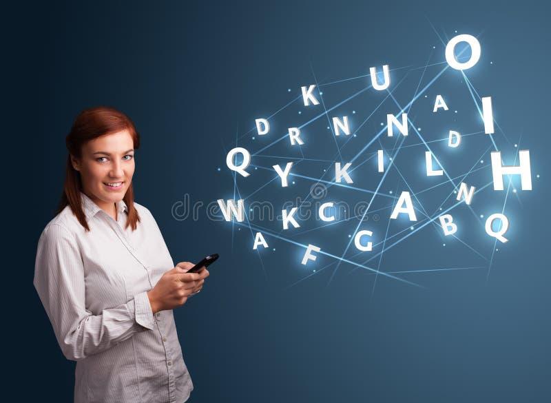 键入在与高科技3d的smartphone的少妇在commi上写字 向量例证