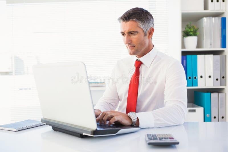 键入在膝上型计算机的快乐的商人 库存照片