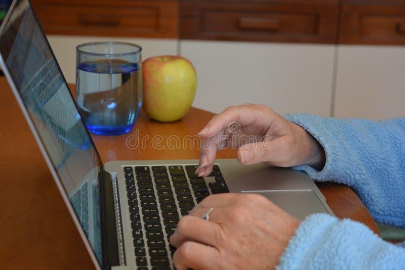 键入在膝上型计算机键盘,关闭的妇女  免版税库存图片