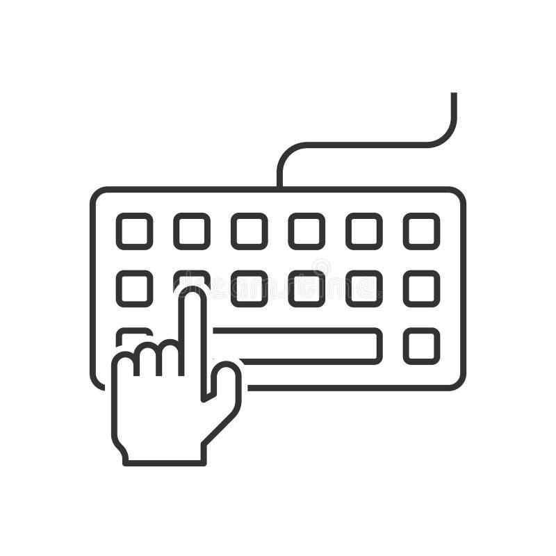 键入在键盘的手 皇族释放例证
