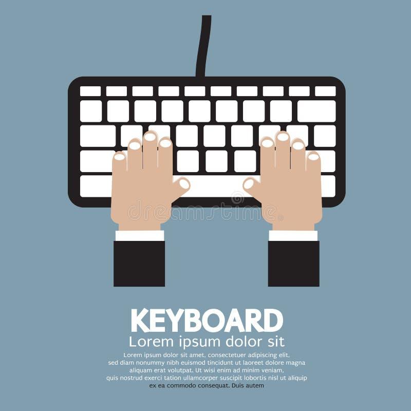 键入键盘的手 库存例证