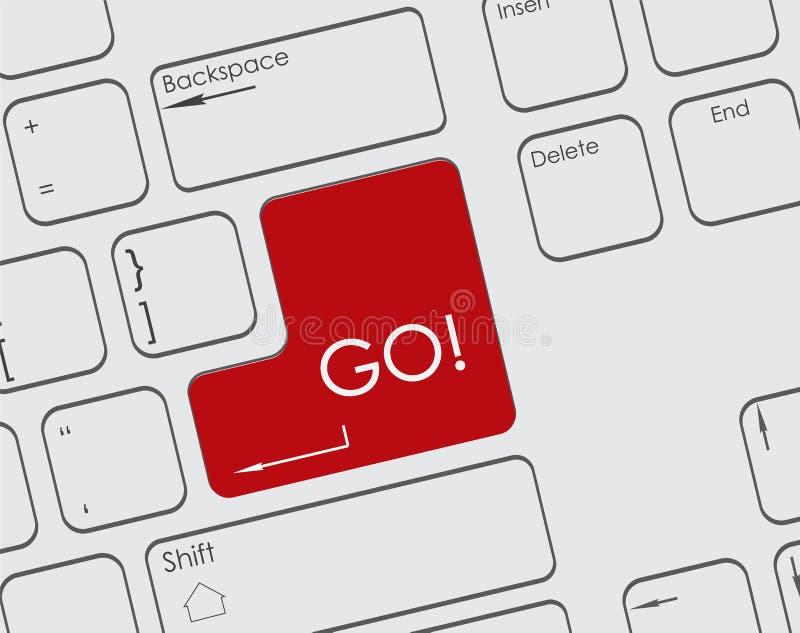 键盘与红色按钮的` s片断 向量例证