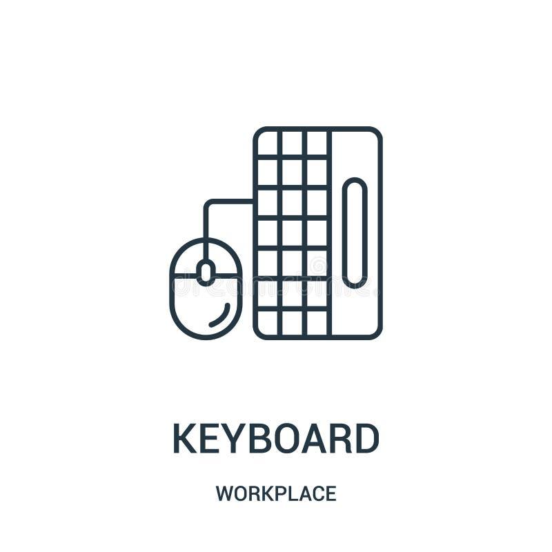 键盘从工作场所汇集的象传染媒介 稀薄的线键盘概述象传染媒介例证 库存例证