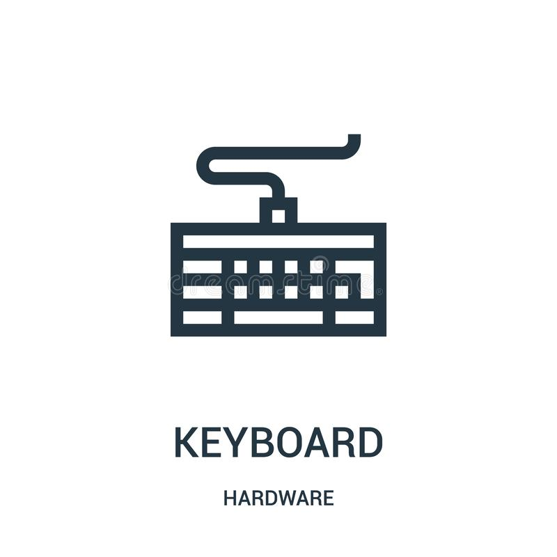 键盘从硬件汇集的象传染媒介 稀薄的线键盘概述象传染媒介例证 向量例证