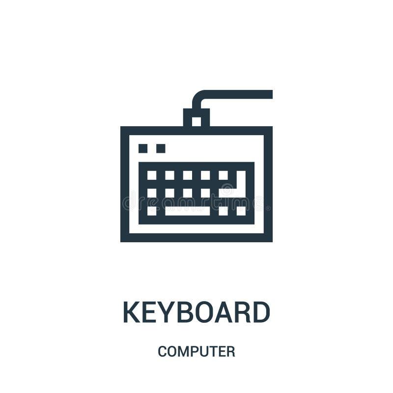 键盘从计算机汇集的象传染媒介 稀薄的线键盘概述象传染媒介例证 库存例证