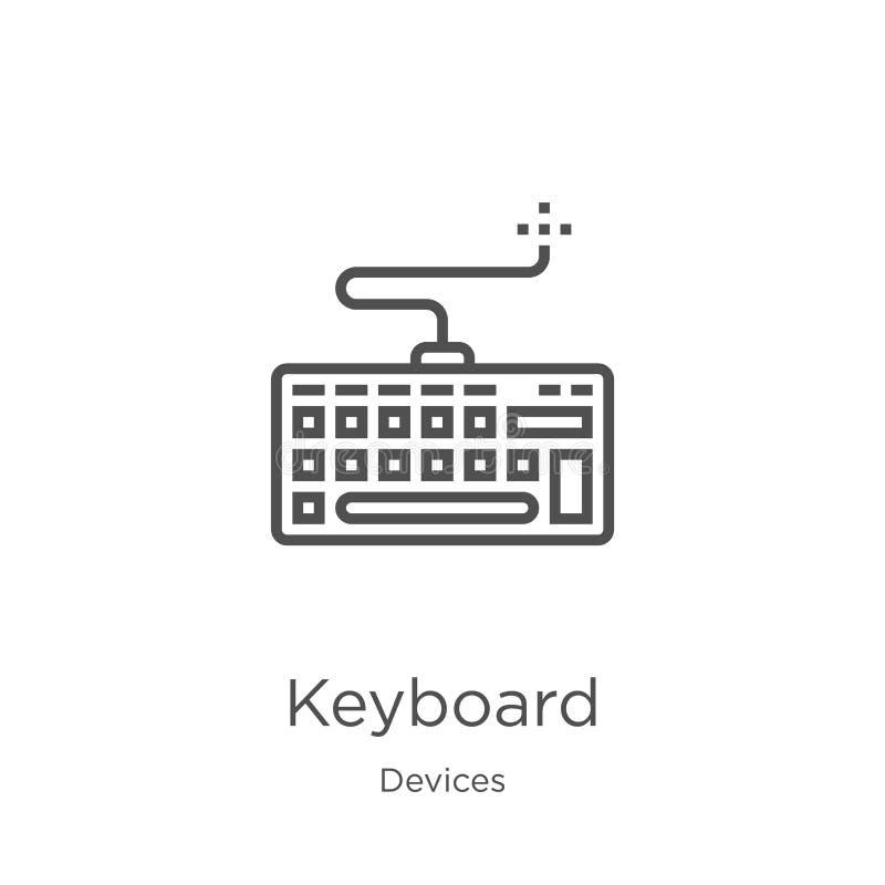 键盘从设备汇集的象传染媒介 稀薄的线键盘概述象传染媒介例证 概述,稀薄的线键盘 皇族释放例证