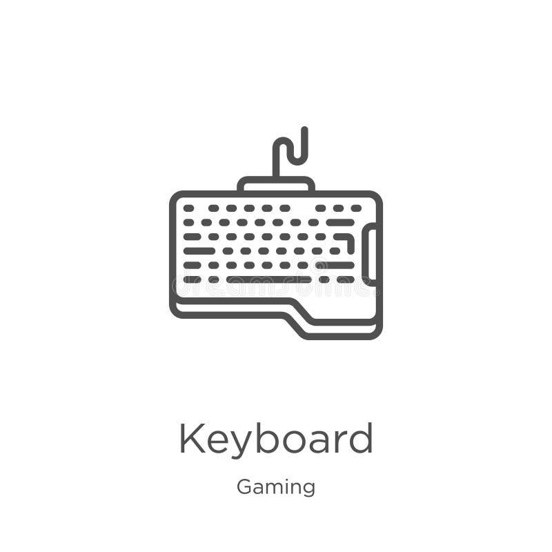 键盘从赌博汇集的象传染媒介 稀薄的线键盘概述象传染媒介例证 概述,稀薄的线键盘象 向量例证