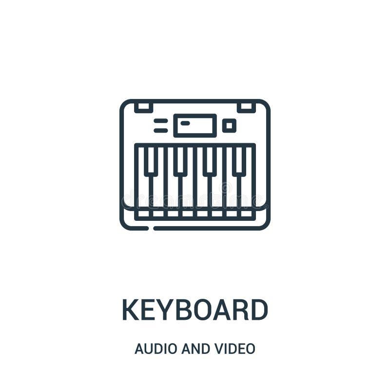 键盘从音频和录影收藏的象传染媒介 稀薄的线键盘概述象传染媒介例证 向量例证