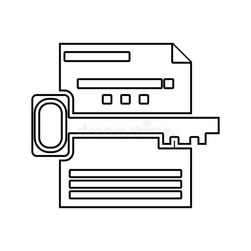 键盘检索象 网络安全的元素流动概念和网应用程序象的 网站设计的稀薄的线象和 库存例证