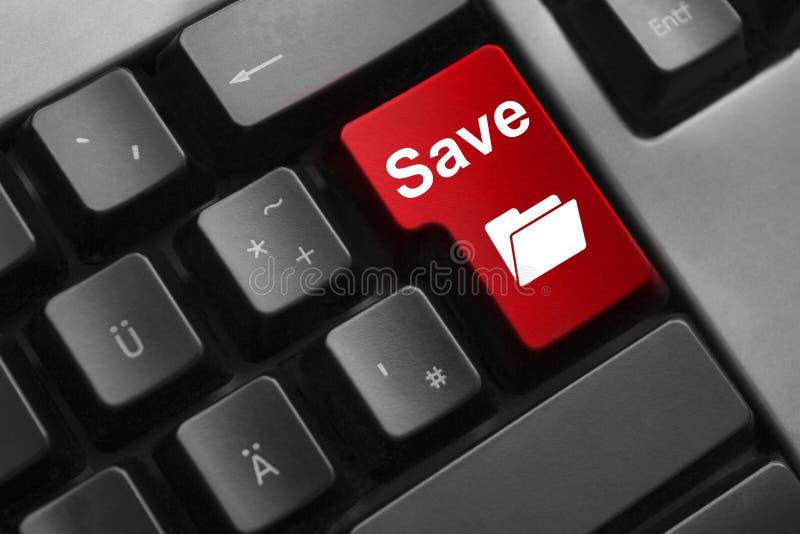 键盘红色按钮救球文件夹标志 库存图片
