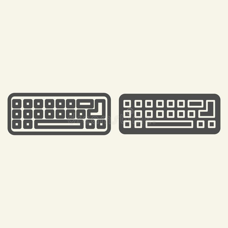 键盘线和纵的沟纹象 计算机键盘在白色隔绝的传染媒介例证 个人计算机钥匙概述样式设计 向量例证