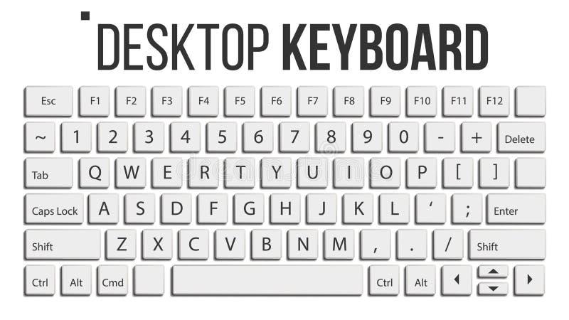 键盘被隔绝的传染媒介 布局模板 经典关键董事会 空白按钮 计算机桌面 电子设备 库存例证
