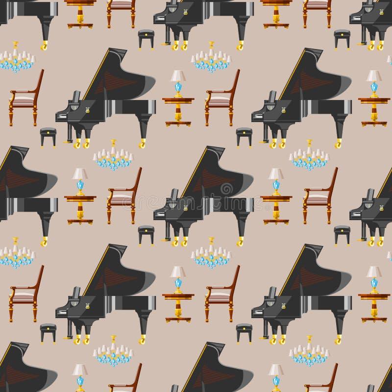 键盘钢琴乐器古典音乐家设备无缝的样式背景传染媒介例证 库存例证