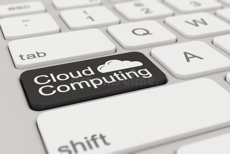 键盘-云彩计算-黑色 向量例证