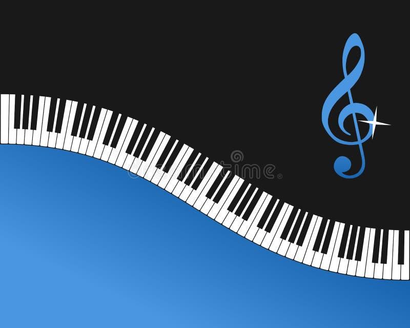 琴键蓝色背景 向量例证