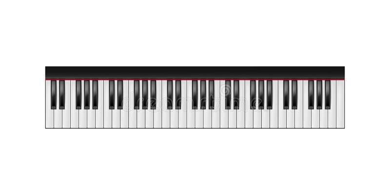 琴键, 61把钥匙,被隔绝 免版税库存照片