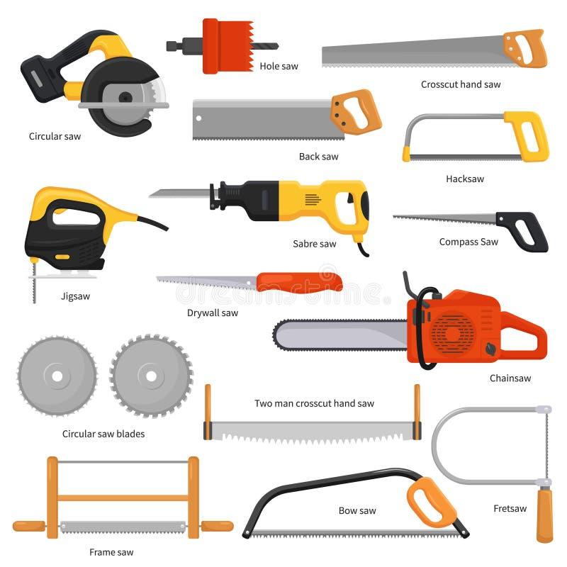 锯传染媒介锯切设备手锯引形钢锯锯和pullsaw锯木屑木匠业有锋利的刀片的金属工具为 向量例证