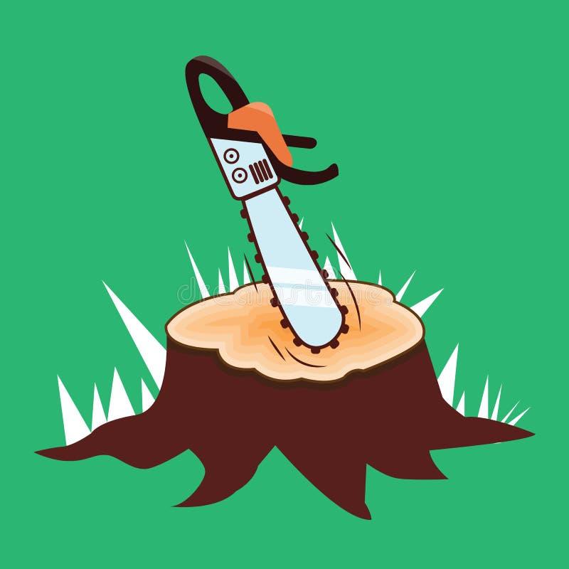 锯和树桩在绿色背景,例证,设计 向量例证