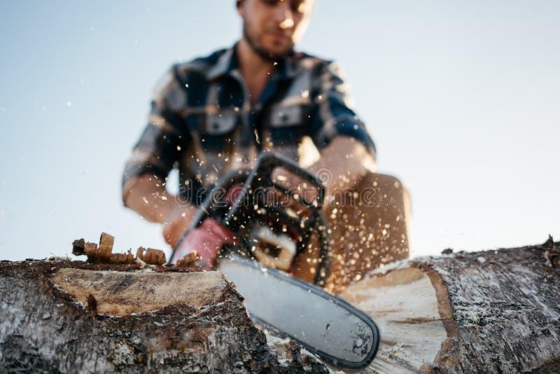 锯在锯木厂的专业坚强的砍木柴者一个大发球区域 免版税库存图片