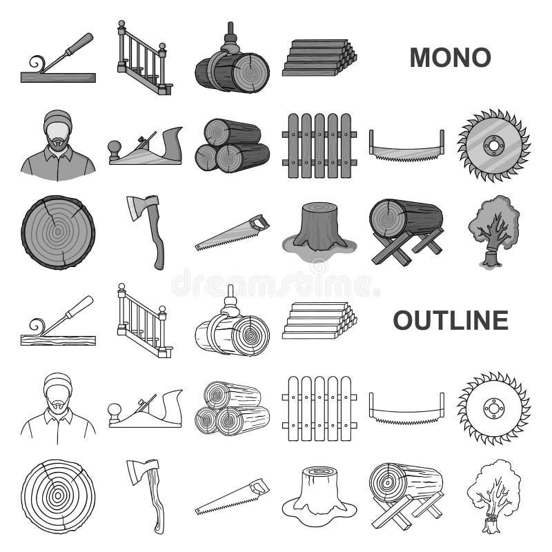 锯木厂和木材在集合收藏的monochrom象的设计 硬件和工具导航标志储蓄网例证 向量例证