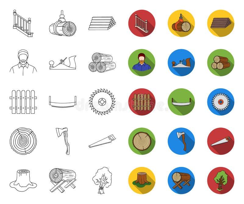 锯木厂和木材概述,在集合收藏的平的象的设计 硬件和工具传染媒介标志股票网 皇族释放例证