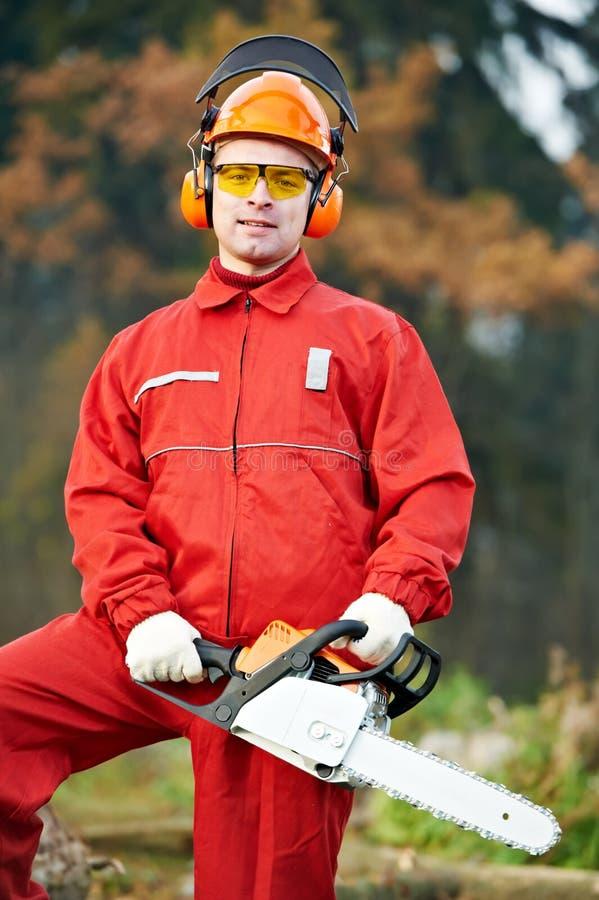 锯森林伐木工人工作者 库存图片