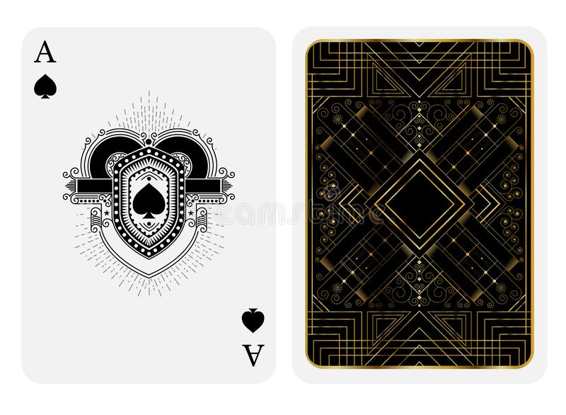 锹一点在线型盾面孔和后面的有金黄艺术装饰gatsby样式样式的在黑衣服 传染媒介卡片模板 皇族释放例证