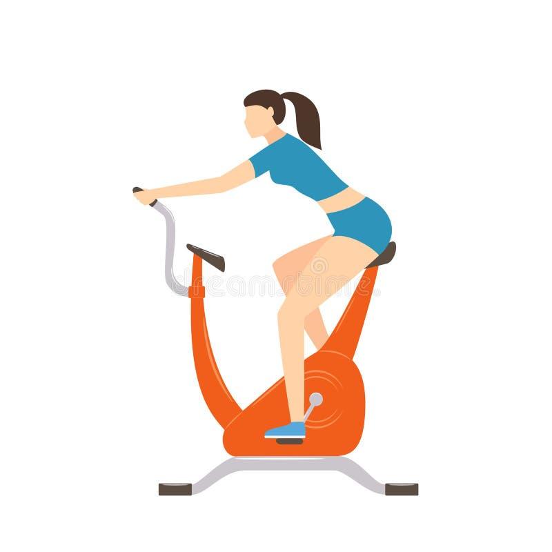 锻炼脚踏车的妇女 库存例证