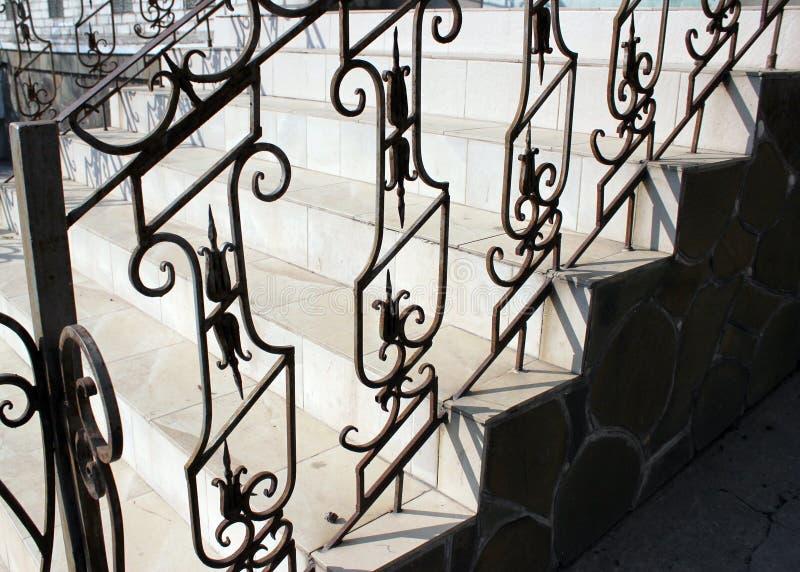 锻铁楼梯,样式,金属篱芭,黑,具体步鄹 免版税库存照片