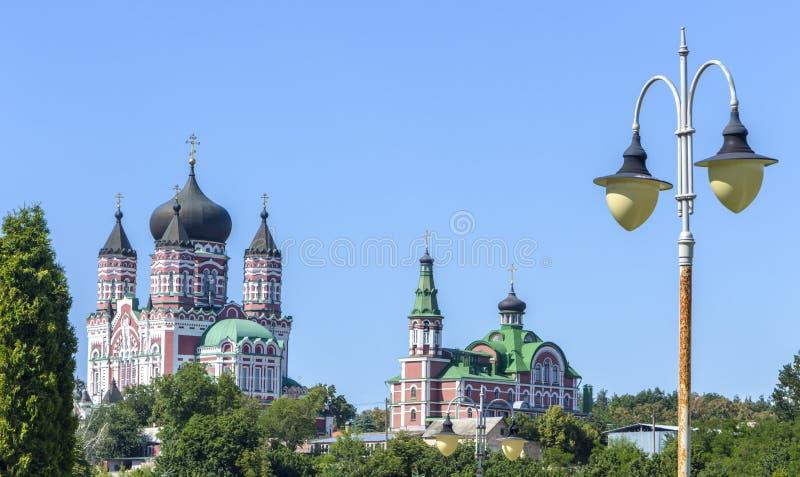 镀金正统大教堂的圆顶反对蓝天的 图库摄影
