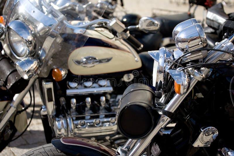 镀铬摩托车 免版税库存图片