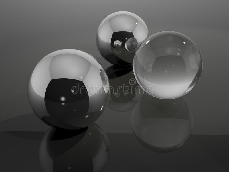 镀铬物和玻璃球 向量例证