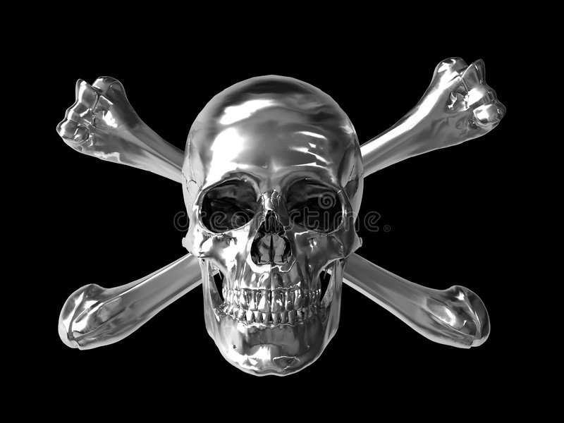 镀铬物头骨符号含毒物 库存例证