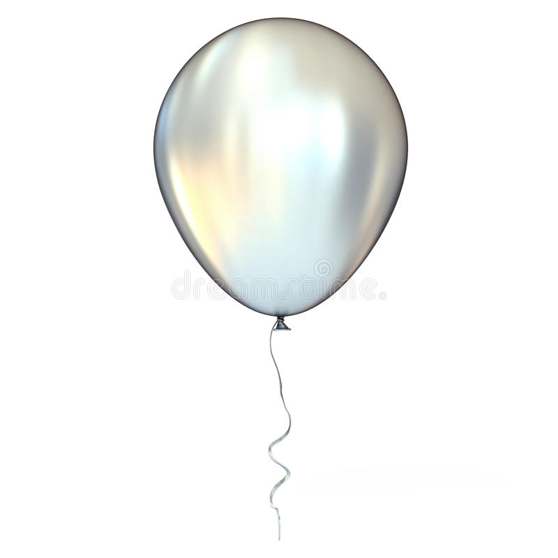 镀铬物,银,有丝带的金属气球 库存照片