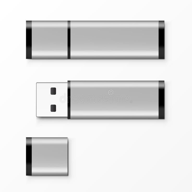 镀铬物USB闪光做广告,烙记和公司本体的推进模板 向量例证