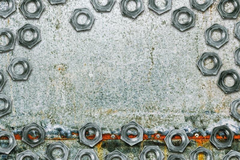 镀锌有螺栓的上漆的被镀锌的钢金属板板材 库存照片