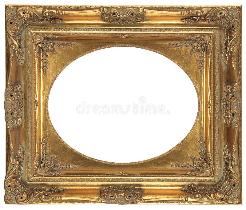 镀青铜装饰框架查出的长圆形 免版税库存照片