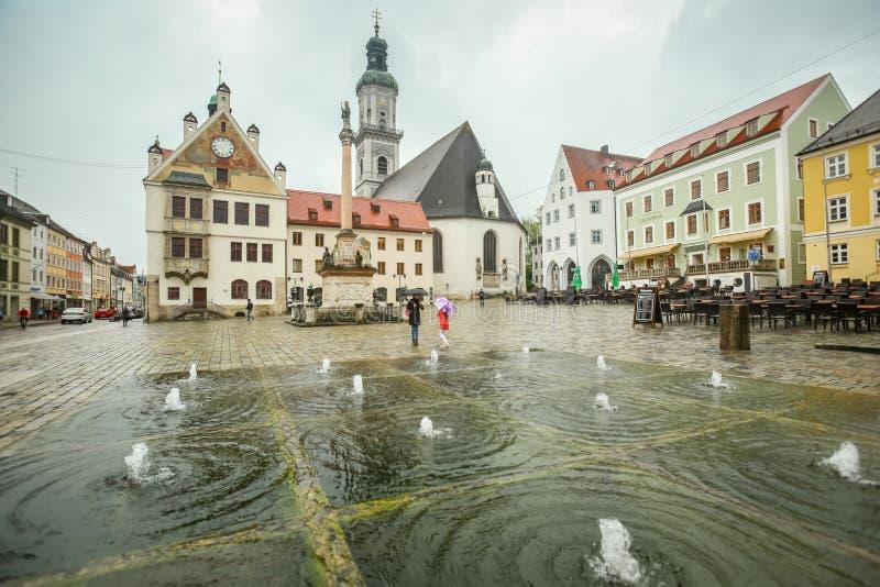 镇中心在弗赖辛 库存照片