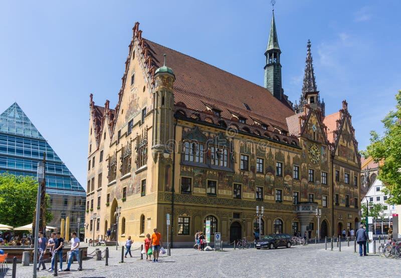 镇乌尔姆市政厅,巴登-符腾堡州状态的,德国 免版税库存照片