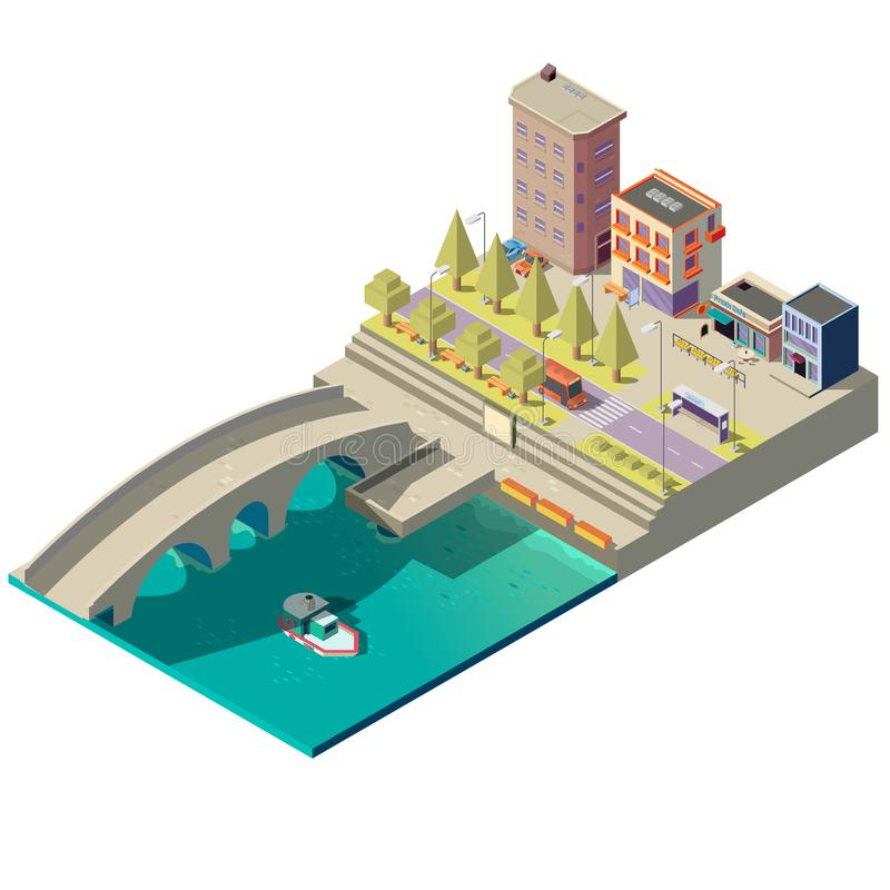 镇传染媒介等量地图有大厦的 向量例证