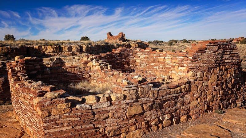 镇在Wupatki国家历史文物的印地安人废墟 库存照片