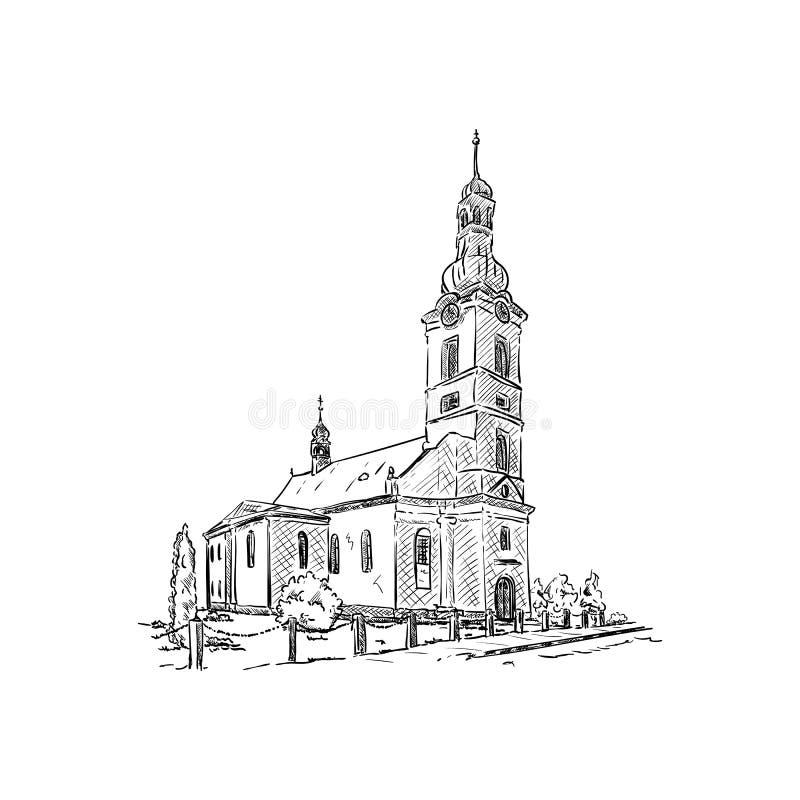 镇多布拉的教会 库存例证