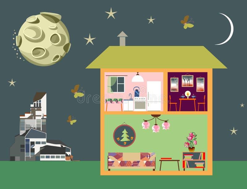 镇夜场面  裁减、现代大厦和月亮的二层楼的房子在天空 向量例证