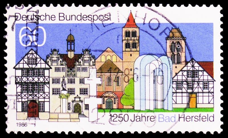 镇大厦,巴德黑尔斯费尔德serie,大约1986年 免版税图库摄影