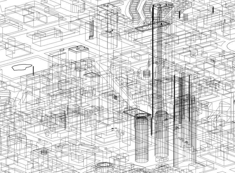 镇概念-被隔绝的建筑师图纸 向量例证