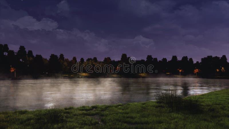 镇静池塘在一个城市公园在黑暗的夜空下 库存例证